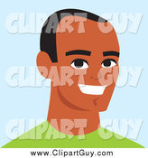 Clip Art of a Happy Young African American Guy Smiling by Monica
