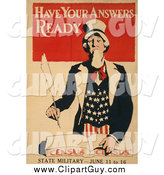 Clip Art of a Have Your Answers Ready - American Census - State Military Uncle Sam by JVPD