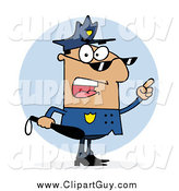 Clip Art of a Hispanic Police Man Holding a Club and Yelling by Hit Toon