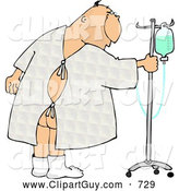 Clip Art of a Hospitalized Ill Caucasian Man Walking Around with an Intravenous (IV) Drip Line with Fluids by Djart