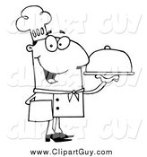 Clip Art of a Lineart Happy Serving Chef by Hit Toon