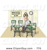 Clip Art of a Lonely Businessman Sitting and Waiting by Himself at a Meeting Which Was Scheduled for 8:00 on White by Djart
