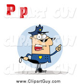 Clip Art of a Mad Cop with Letters C by Hit Toon