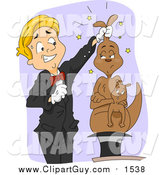 Clip Art of a Magician Pulling a Mad Kangaroo out of a Hat by BNP Design Studio