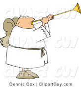 Clip Art of a Male Angel with Wings Blowing a Trumpet by Djart
