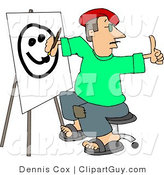 Clip Art of a Male Artist Drawing a Smiley Face on Canvas with a Paintbrush While Giving a Thumbs up to His Model by Djart
