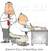 Clip Art of a Male Boss Looking over Employee's Shoulder As He Works at His Desk in His Office by Djart