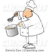 Clip Art of a Male Chef Holding a Spoon and Pot of Soup on a White Background by Djart