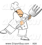Clip Art of a Male Chef with a Big Fork Looking to the Right by Djart