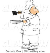 Clip Art of a Male Cook Holding a Skillet and Spatula and Looking over His Shoulder by Djart
