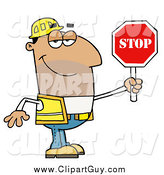 Clip Art of a Male Hispanic Traffic Director Using a Stop Sign by Hit Toon