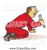 Clip Art of a Male Mechanic in Red Coveralls, Kneeling and Using a Wrench by Snowy
