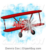 Clip Art of a Male Pilot Flying a Red Biplane Through the Air by Djart