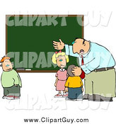 Clip Art of a Male Teacher and School Kids at a Chalkboard by Djart
