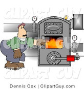 Clip Art of a Man Opening the Door of a Hot Boiler or Oven with Valves by Djart