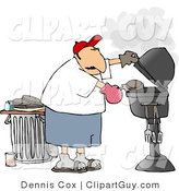 Clip Art of a Man Putting a Hamburger on or Taking It off a Smoking Barbecue (BBQ) Grill by Djart