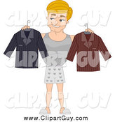Clip Art of a Man Selecting His Clothes by BNP Design Studio