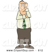 Clip Art of a Perplexed Businessman Thinking About Something and Looking Forward by Djart