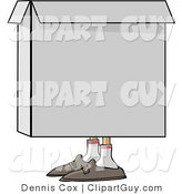 Clip Art of a Person Hiding in a Square Cardboard Box by Djart