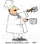 Clip Art of a Professional Caucasian Male Chef Making Gravy by Djart