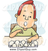Clip Art of a Red Haired White Man Counting Eggs by BNP Design Studio