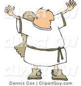 Clip Art of a Religious Male Angel with Wings Waving Arms and Trying to Grab Everyone's Attention by Djart