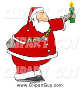 Clip Art of a Santa Claus Holding a Lit Candle by Djart