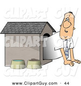 Clip Art of a Scared Businessman in the Doghouse by Djart