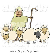 Clip Art of a Shepherd Holding a Staff and Standing with His Sheep by Djart
