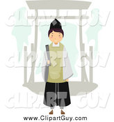 Clip Art of a Shinto Priest by an Arch by BNP Design Studio