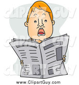 Clip Art of a Shocked Red Haired Man Holding up a Newspaper by BNP Design Studio
