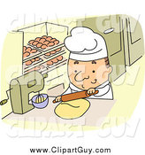 Clip Art of a Short White Male Baker Using a Rolling Pin by BNP Design Studio