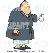 Clip Art of a Sick Man Holding Medicine While Wearing a Robe by Djart