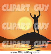 Clip Art of a Silhouetted Cheering Successful Man Atop a Coastal Mountain Against an Orange Sunset by Arena Creative