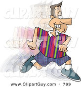 Clip Art of a Smiling Man Running and Burning Calories by Djart