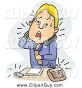 Clip Art of a Stressed Blond White Businessman Answering Phone Calls over Blue by BNP Design Studio