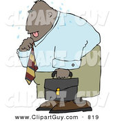 Clip Art of a Tired Ethnic Businessman Sweating from the Summer Heat by Djart