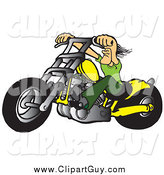 Clip Art of a Tough White Biker Dude Resting His Arms on His Chopper Handles While Taking a Ride on His Yellow Motorcycle by Snowy