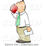 Clip Art of a White Businessman Holding a Letter and Drinking a Cup of Coffee by Djart