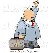 Clip Art of a White Businessman with Briefcase Trying to Wave down a Taxi in a Big City by Djart