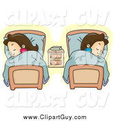 Clip Art of a White Couple Sleeping in Separate Beds by BNP Design Studio