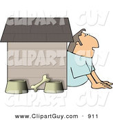 Clip Art of a White Husband in Trouble with His Wife, Sitting Outside of a Doghouse with a Bone and Food & Water Bowls by Djart