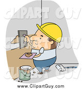 Clip Art of a White Male Builder Applying Plaster by BNP Design Studio