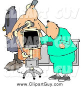 Clip Art of a White Male Doctor Taking Getting an X-ray of His Patients Stomach/Chest Area by Djart