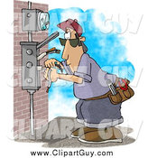 Clip Art of a White Male Electrician Wiring a Brick Building by Djart