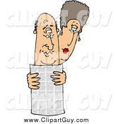 Clip Art of a White Man and Woman Reading the Local Newspaper Together by Djart