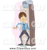Clip Art of a White Man Soaked from a Bucket of Water in a Doorway by BNP Design Studio