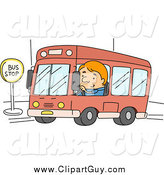 Clip Art of ABus Driver at a Stop by BNP Design Studio