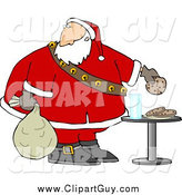 Clip Art of AChubby Santa Grabbing Chocolate Chip Cookie by Djart