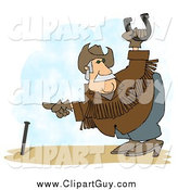 Clip Art of ACowboy Playing Horseshoes by Djart